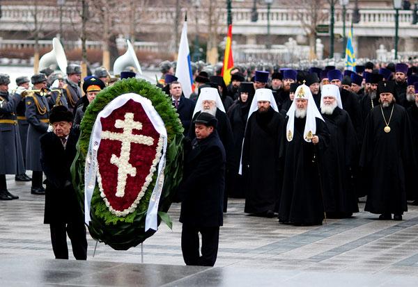 Возложение венка 23 февраля представителями РПЦ МП