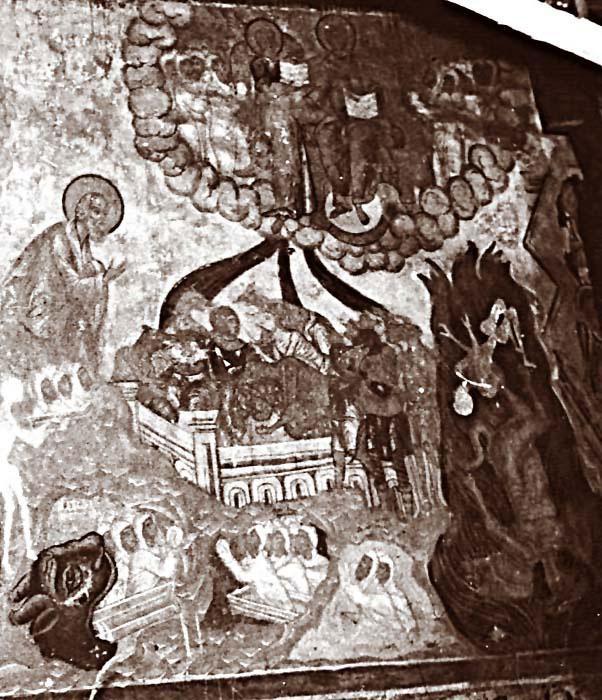 """Народы Гога и Магога окружили """"стан святых"""". Фрагмент цикла Апокалипсис. 1668 г."""