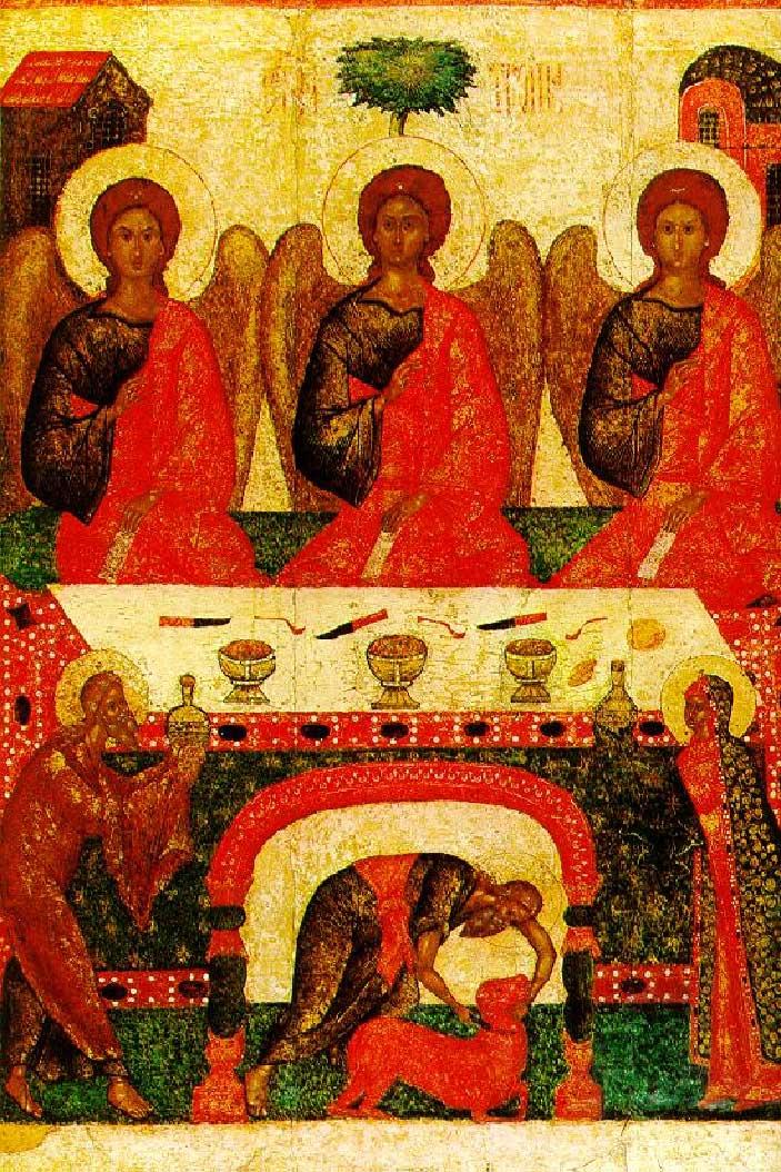 Псковская икона XV в. Явление Святой Троицы в виде трех Ангелов праотцу Аврааму