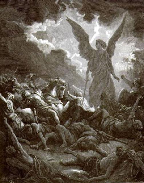 Гюстав Доре. Ангел Господень поражает воинов Сеннахирима, противника иудеев