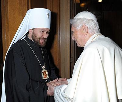 Митрополит Иларион (Алфеев) и папа Римский