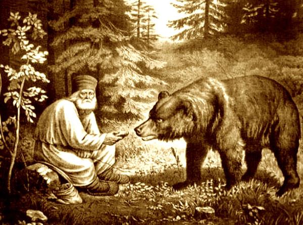 Преп. Серафим Саровский кормит медведя. Литография неизвестного художника 1860-1880 гг.