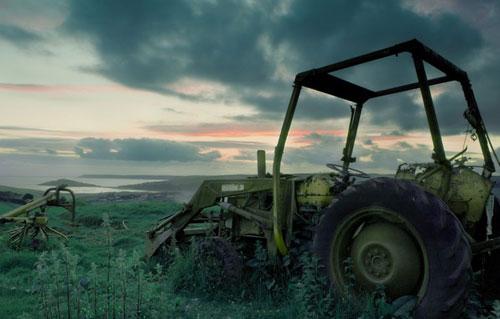 Обои картинки фото трактор, трава, заброшенный, сломанный