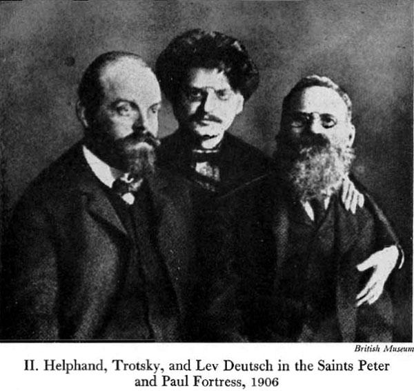 А. Гельфанд-Парвус, Л. Троцкий и один из старейших (с 1874 г.) революционеров Л. Дейч