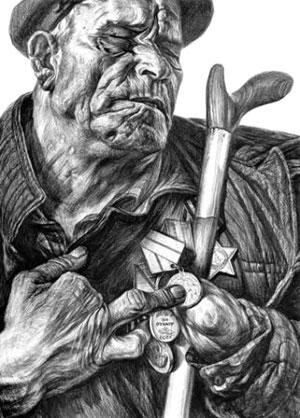 Герой обороны Сталинграда Иван Забара. Рисунок Геннадия Доброва