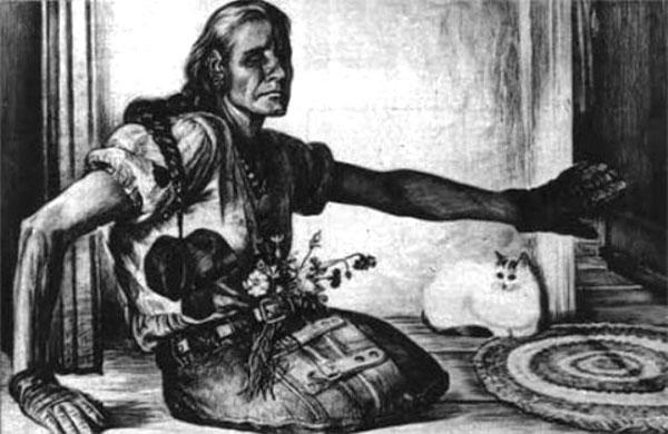 Партизанка из Беларуси Серафима Комиссарова. Рисунок Геннадия Доброва
