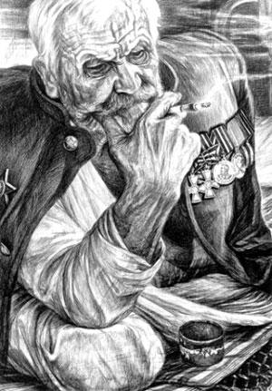 Участник трех войн Михаил Козатенков. Рисунок Геннадия Доброва