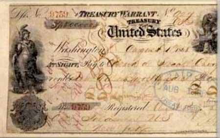 Чек на 7 млн. долларов, полученный от США в 1867 году за Аляску