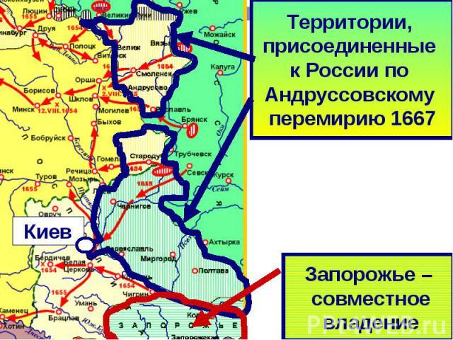Территории присоединённые к России по Андрусовскому перемирию