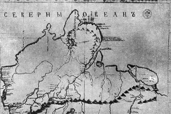 Карта Таймыра, выполненная Х.П. Лаптевым по результатам экспедиции
