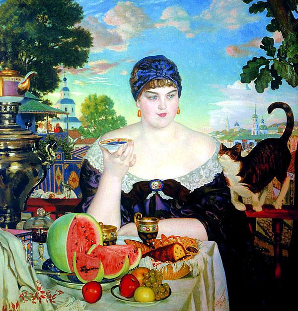 Б. М. Кустодиев. Купчиха за чаем. 1918