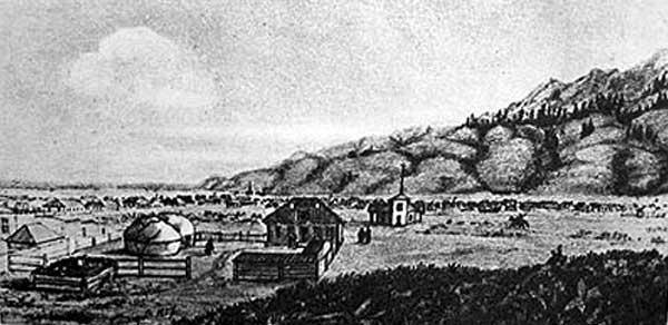 Площадь в укреплении Верном (ныне Алма-Ата), 1857 г.