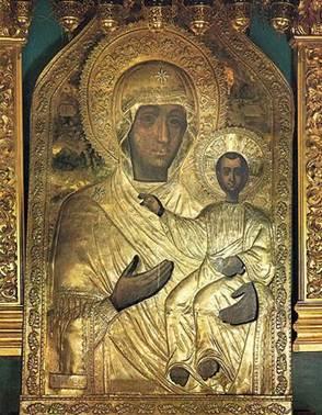 В 1525 г. иконостас нового монастыря украсила знаменитая икона Смоленской Богородицы