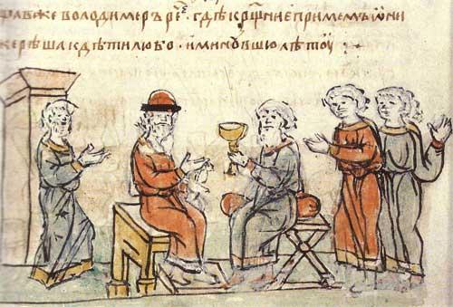 Князь Владимір выслушивает ответ послов. Радзивиловская летопись