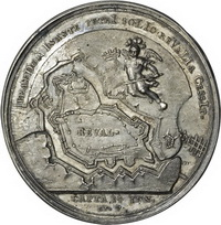 Медаль в память взятия крепости Ревель в 1710 г.
