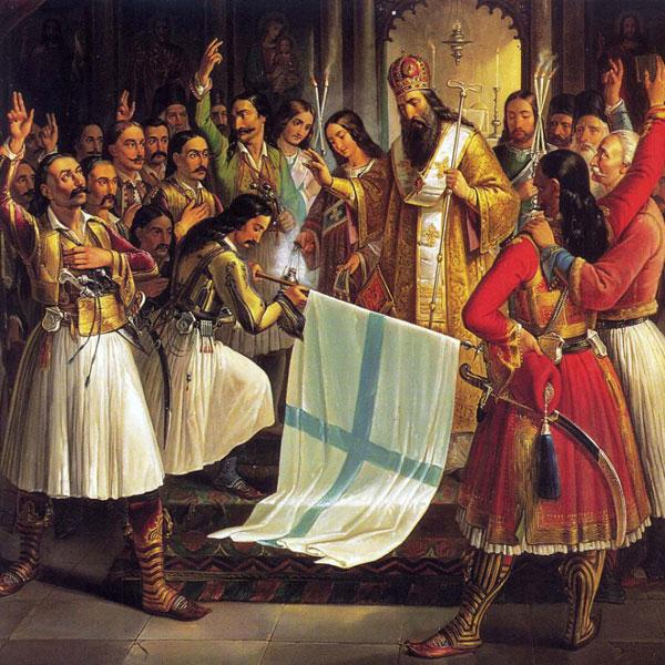 Митрополит Герман благословляет знамя восставших в монастыре Агиа Лавра. Картина Теодороса Вризакиса, 1865