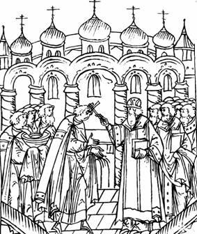 Митр. Макарий благословляет Иоанна IV на поход в Казань. Лицевой летописный свод. 1553 г.