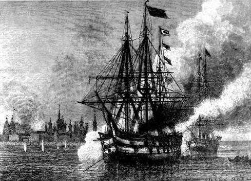 Англо-французский флот обстреливает Соловецкий монастырь в 1854 г. Турция объявила войну России. Начало Крымской войны (1853-1856)