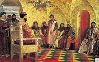 Сидение царя Михаила Феодоровича с боярами в его государевой комнате. Картина А.П. Рябушкина, 1893