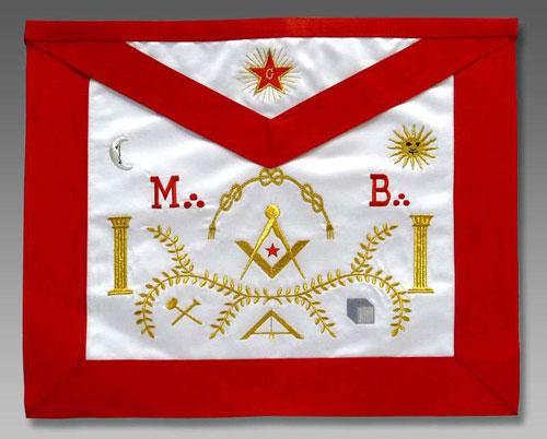 Образец масонского фартука с вышитой пламенеющей звездой