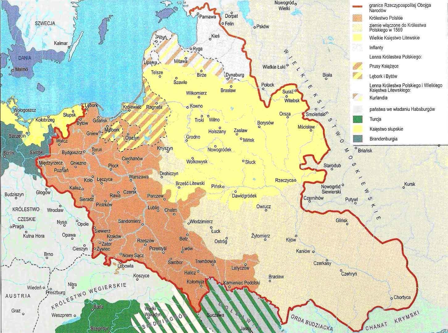 Границы Речи Посполитой в XVI веке