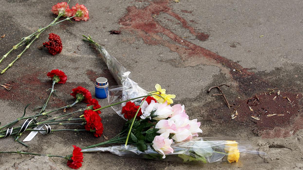 Место гибели Олеся Бузины возле его дома поулице Дегтярёвской, д. 58. Фото: www.globallookpress.com