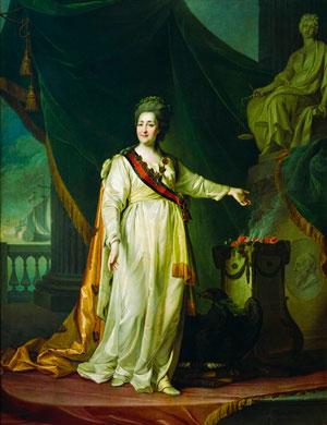 Екатерина II в виде законодательницы в храме богини Правосудия. Портрет работы Д. Левицкого
