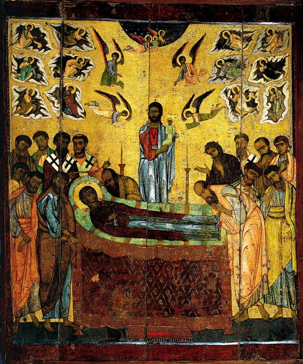 Икона «Успение Богоматери». Начало XIII века. Из Десятинного монастыря в Новгороде