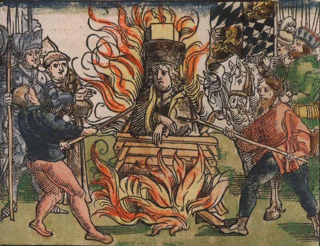 """1415 г. Сожжение Яна Гуса. Раскрашенная гравюра из издания """"Хроники Констанцкого собора"""""""