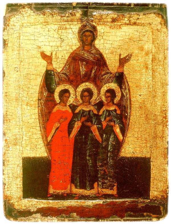 Св. мученицы Вера, Надежда, Любовь и мать их София, Новгород, XVI в